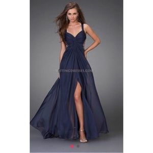 Navy blue chiffon prom dress
